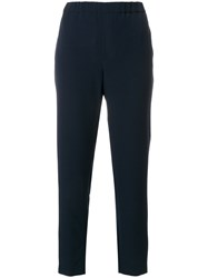 Closed Elasticated Waistband Tailored Trousers Blue