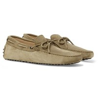 Tod's Gommino Suede Driving Shoes Beige