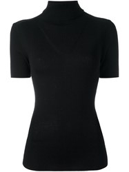 P.A.R.O.S.H. Turtleneck Ribbed Knitted Top Women Wool Xs Black