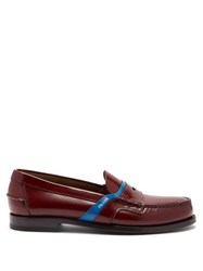 Prada Bi Colour Leather Loafers Burgundy