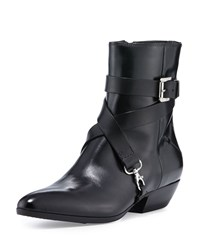 Cnc Costume National Pointed Toe Strappy Leather Ankle Boot Black
