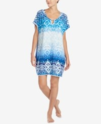 Ellen Tracy Crochet Trim Keyhole Caftan White Blue