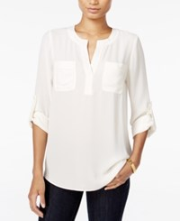 Maison Jules Roll Tab Sleeve Blouse Only At Macy's Egret