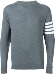 Thom Browne Striped Sleeve Detail Sweater Grey