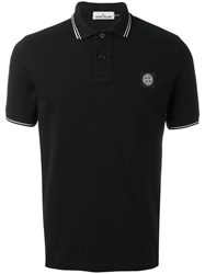 Stone Island Contrast Trim Polo Shirt Black