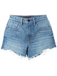 Alexander Wang Destroyed Denim Shorts Blue