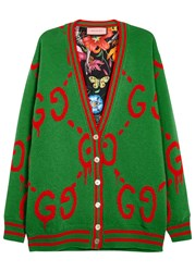 Gucci Green Reversible Wool Cardigan