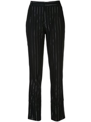 Rta Joan Striped Straight Leg Trousers Blk Silver