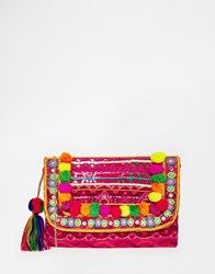 Glamorous Foldover Clutch Bag With Pom Pom Detail Multi