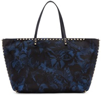 Valentino Blue Butterfly Camouflage Small Nylon Tote