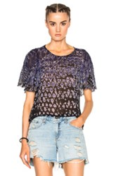 Raquel Allegra Petal Sleeve Top In Blue Ombre And Tie Dye Blue Ombre And Tie Dye