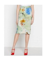 Vivienne Westwood Anglomania Art Lover Printed Linen Pencil Skirt Multi