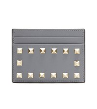 Valentino Rockstud Leather Card Holder Grey