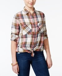 Polly And Esther Juniors' Plaid Button Front Shirt Cream Olive Navy Blue