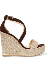 Jimmy Choo Portia Suede Wedge Sandals Brown