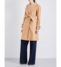 See By Chloe Oversized Linen And Cotton Blend Trench Coat Pink Camel