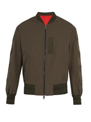 Neil Barrett Chevron Applique Cotton Blend Bomber Jacket Khaki