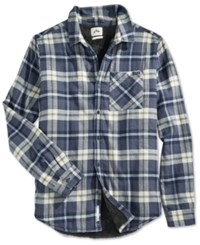 Rusty Wedger Plaid Flannel Faux Sherpa Lined Long Sleeve Shirt