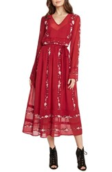 Willow And Clay Embroidered Midi Dress Scarlet