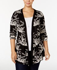 Belldini Plus Size Jacquard Knit Floral Cardigan Black White