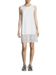 Mcq By Alexander Mcqueen Denim And Lace Shift Dress Ivory