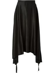 Mm6 By Maison Martin Margiela Long Draped Asymmetric Skirt Black