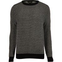 River Island Mensblack And White Textured Knit Sweater