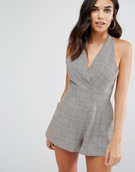 Love Pleated Bust Playsuit In Check Print Pow Grey