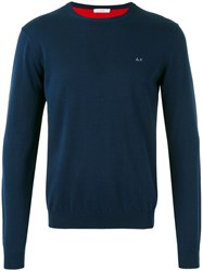 Sun 68 Crew Neck Jumper Men Cotton S Blue