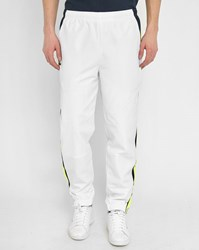 Lacoste White Joggers With Blue Yellow Stripe