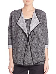 St. John Reversible Heart Jacquard Knit Cardigan Black White
