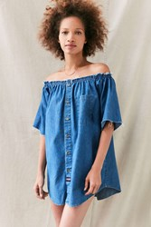 Urban Renewal Remade Chambray Off The Shoulder Dress Blue
