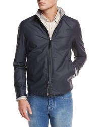 Ermenegildo Zegna Waxed Cotton Blend Bomber Jacket Navy Nvy Sld