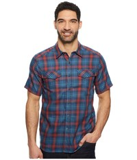 Royal Robbins Merinolux Plaid Short Sleeve Shirt Blue Stone Short Sleeve Button Up