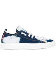 Dsquared2 Bleached Denim Basquette Sneakers Men Cotton Spandex Elastane Rubber 41 Blue