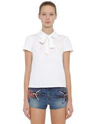 Red Valentino Cotton Poplin Shirt W Bow White