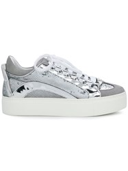 Dsquared2 Platform Sequined Sneakers Metallic