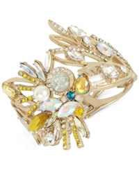 Betsey Johnson Gold Tone Stone And Crystal Cockatoo Hinged Bracelet Yellow