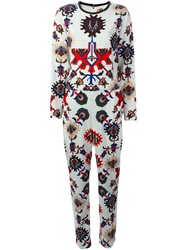 Msgm Mechanic Flower Print Jumpsuit White