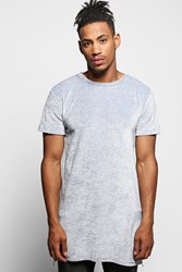 Boohoo Longline Velour T Shirt With Side Zips Grey
