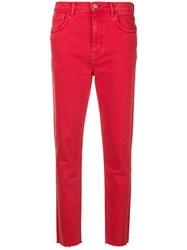 Mih Jeans Mimi Cropped Slim Fit Red