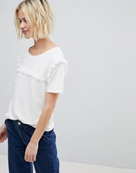 Suncoo T Shirt With Ruffle Front White