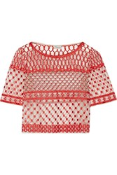 Temperley London Angeli Cropped Embellished Tulle Top Red