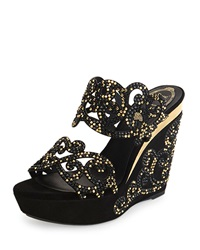 Suede And Strass Wedge Slide Sandal Black Gold Rene Caovilla