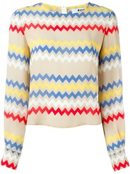 Msgm Zig Zag Print Blouse Nude And Neutrals