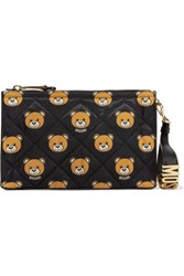 Moschino Leather Trimmed Quilted Printed Shell Clutch Black