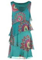 Desigual Lina Summer Dress Verde Free Turquoise
