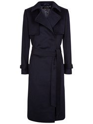 Jaeger Wool Trench Coat Navy