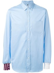 Oamc Contrasting Hem And Cuff Shirt Blue