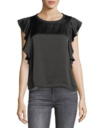 7 For All Mankind Crewneck Satin Side Ruffle Top Black